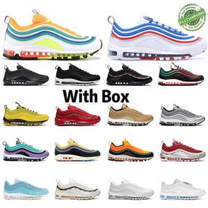 2020 Neue Kissen 97S Sneakers Schwarz Weiß Blau Männer Frauen Outdoor-Freizeit Rot Rosa Regenbogen stoßabsorbierendes Jogging-Schuhe 36-45 mit dem Kasten