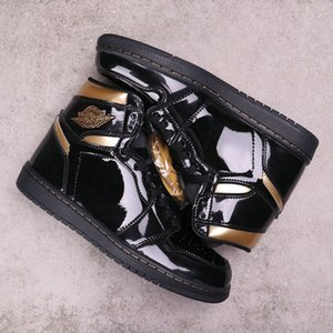 2020 New High OG en cuir verni Hommes Noir Metallic Gold Chaussures de basket de qualité supérieure Jumpman de sport Chaussures de sport des Formateurs Chaussures