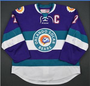 Özel Erkekler Gençlik kadınlar Vintage ECHL Orlando Güneş Ayıları 27 Eric Faille 29 David Bell 3 Carl Nielsen Vintage Hokeyi Jersey Boyut S-5XL