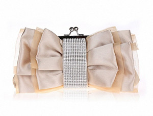 Women Bow Flower Evening Bag Chain Shoulder Bag For Ladies Diamond Bolsa Handbag Party Wedding Dress Makeup UTXZ#
