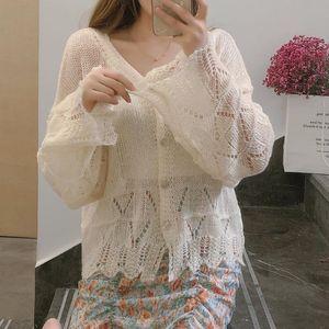ulvoH Langarm trendy ins All-Gleiches oben lose V-Ausschnitt gestrickt Ice Silk Air Coat Shirt Klimaanlage Shirt Anlage Bluse dünn Sonnen