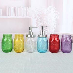 Alimentador del jabón líquido de la bomba de cristal Botella tarro de acero inoxidable Tapa Dispensadores encimera loción de baño Almacenamiento Almacenamiento de Herramientas Botellas EWE851