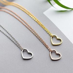 alta qualidade s925 sólida prata esterlina para sempre amor coração symbo forma colar de ouro 14k rosa banhado a ouro requintada jóia do presente dos Valentim