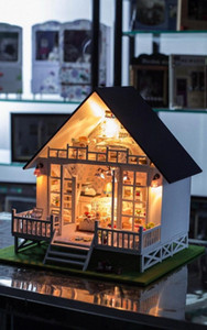 New Nordic Holiday Villa DIY Doll House Miniatura Handmade Wooden Casa Diy Birthday Gifts For Adults And Lovers Children YpSQ#