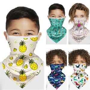 Enfants Cartoon Visage Masque Unicorn Dinosaur Imprimer Masques de protection des enfants écharpe magique cyclisme Bandanas antipoussière Anti-UV Turban Masques visage INS