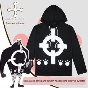 qhLjr WTYZo Один с длинными рукавами с длинными рукавами футболки одежды свитер одежды свитер Медведь кусок капюшоном тиран футболки аниме одежды подходит F