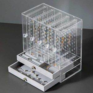 Joyería multifuncional pendientes caja del estante pendientes caja de almacenamiento transparente Pantalla Caja de Corea princesa a prueba de polvo del estante de joyería