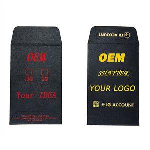 Bolsa de papel OEM logotipo personalizado Destruir Envelope Edibles Estampación en caliente Concentrados de embalaje personalizado impreso Mini sobres pequeños Pequeño 90 * 58mm