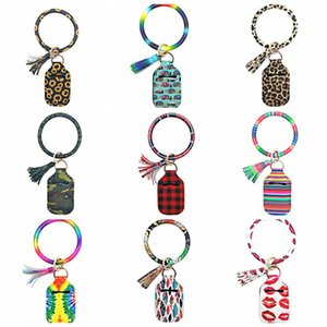 Wristlet Sanitizer Bottle Holder PU Leather Bangles Neoprene Sanitizer Bags Tassel Key Rings Girls Women Jewelry 22 Designs YYC2131