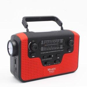 Çok fonksiyonlu FM Radyo FM / AM / GB Güneş El Crank Radio TF Kart Yuvası Müzik Güneş LED Uyarısı Acil Şarj Işık