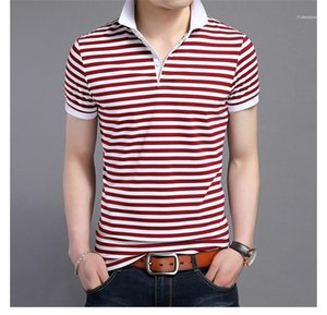 Designer Polos Striped Printed Short Sleeve Tees Slim Contrast Color Fashion Turn Down Collar Mens Tops Mens