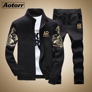 Aotorr Мужская спортивная наборы 2020 Осень Зима Мужской Повседневный Trasuit Men 2 шт Brand Толстовка + Sweatpants Set US / EU Размер
