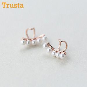 Trusta 100% 925 Oído Sterling Concha de Plata Perlas Clip brazalete en pendientes para las mujeres Fashion Girl Sin Piercing Pendientes DS474 IeIx #