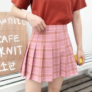 Pink New Korean Plaid Skirt Lady Zipper High Waist Student Women Pleated Plaid Skirt Mini Sexy Skirt Large Size Harajuku Skirts