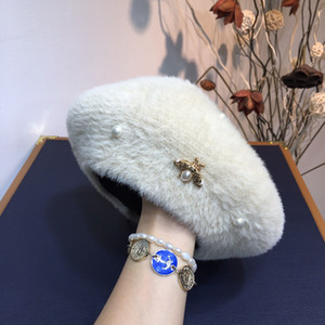 women hat soft rabbit literary octagonal hat WSJ012 autumn and winter new high-end fashion pearl beret xia880520200317