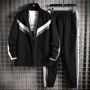 Mens Tracksuit Autumn Fashion Men Outdoor Active Two Piece Suits Top Quality Casual Men Panelled Sport Suit Asian Size M-4XL