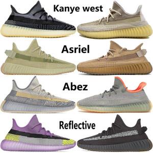 2020 Top qualité Kanye West Hommes Femmes Chaussures de course Israfil Cinder Terre Asriel Zebra Noir Blanc statique Hommes Chaussures de sport Taille 36-46
