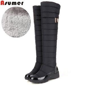 ASUMER 2021 New Fashion Cuissardes Chaussures Femme Cuir verni Pu chaud vers le bas épais de fourrure d'hiver Bottes de neige Femme Mesdames Botas
