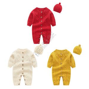 Детская одежда Детские Romper Цельный с длинным рукавом свитера Hat Кнопка свитер Две пьесы Set Осень Зима Детская одежда Set D82407