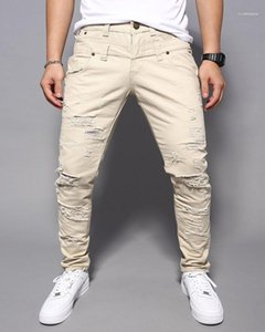 Casual Street Style Mens Pants Fashion multi color Ripped Mens Clothing Men Designer Skinny Long Corgo Jeans