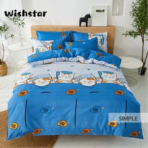 Gato dos desenhos animados Wishstar Good Night Bed Set Kawaii Bedding Sets Folha de cama azul Único capa de edredão Crianças linho definido para Meninas Meninos