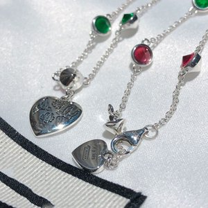 Melhor Bracelete Colorido 925 Real Pulseira De Prata Cadeia de Personalidade para Mulher Presente Fashion Sterling Prata Braceletes com caixa G