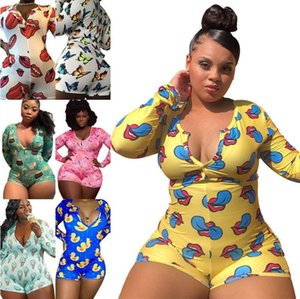 XL-5XL Plus Size Women Clothing Jumpsuits Startseite Bodysuit Pyjama Langarm Onesies Fashion Pattern Printed Sexy Large Size New