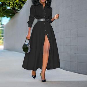 Women Dress Vintage risvolto collo camicia lunga del vestito delle signore dell'ufficio Sundress VONDA primavera-estate del partito Split Vestido Plus Size 200929