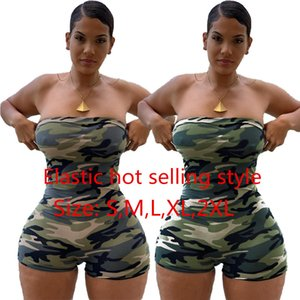 2020 New Camouflage Romper Playsuit Women Hot Clubwear Summer Camo Playsuit Ladies Casual Bodycon Party Shorts Playsuits Strapless A8243