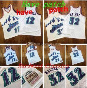 Homens basquete utah.Jazz32 Malone 12 Stockton Mitchell Ness Navy Alternate 1996-1997 Hardwoods Classics Classics Authentic Jersey e Pant