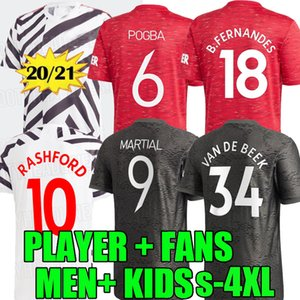 UTD 20 21 üniformalar adam çocuklar 3XL 4XL united oyuncusu 2020 2021 manchester van Beek B. FERNANDES Pogba futbol formaları de MARTIAL formalarını
