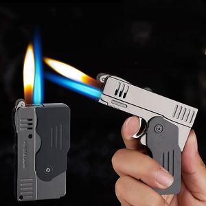 Novidade Duplo Fogo Deformação Pistol gás butano Lighter Free Fire Jet Tocha Windproof Cigarette Flint rebolo Lighter NO GÁS