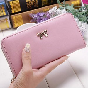 13 Colors Ladies Cute Bowknot Women Long Wallet Pure Color Clutch Bag 2018 New Leather Purse Phone Card Holder Bag Wallet
