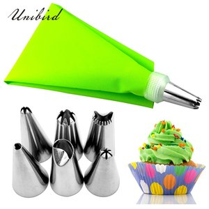 Unibird New EVA Pastely Bolsa con 6pcs DIY Icing Tuber Crema Boquillas Reutilizables Cake Decoración Herramientas Confitería Consejos Auxea