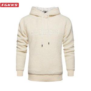FGKKS Men Straße Trend Hoodies Tops Winter-Marken-Männer Fleece Thick Hoodys Stickerei Wolle Pullover Sweatshirts männlich
