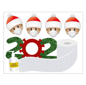 Nouveau Festive 2020 Quarantine autocollant de Noël Décoration bonhomme de neige cadeau famille avec masque Sanitized main