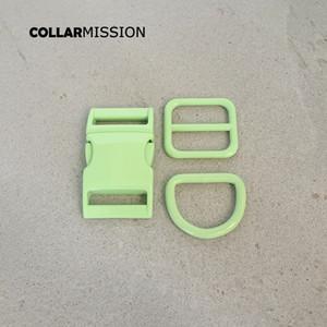 Vendita al dettaglio (fibbia in metallo + regolazione fibbia + d Anello / Set) FAI DA TE Cane Collare Verde da 25 mm Accessorio per cucire Accessorio per cucire Set di fibbia spray