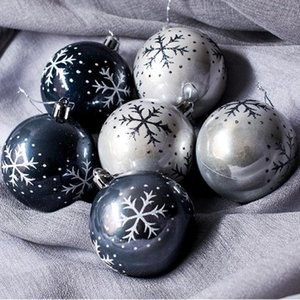 6Pcs Christmas Ball For Xmas Tree Hanging Home Party Ornament Plastic Pendants Christmas Decorations palline natalizie #2F