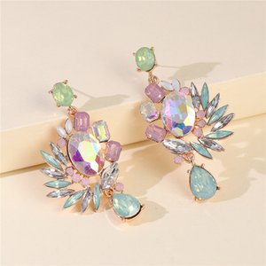 Exaggeration Colorful Diamond Women Earrings Trendy Personality Charm Lady Pendant Studs 2 Patterns Lovely Female Earrings Jewelry