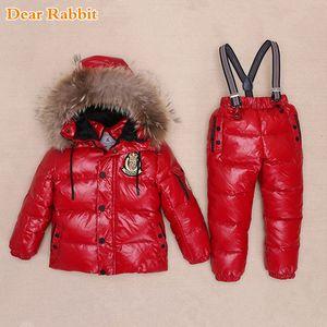 -30 Degrees Russia Winter Ski Jumpsuit Children Clothing Boys Girls Sport Suit Kids Snow Wear Jackets coats Bib pants Waterproof 0927
