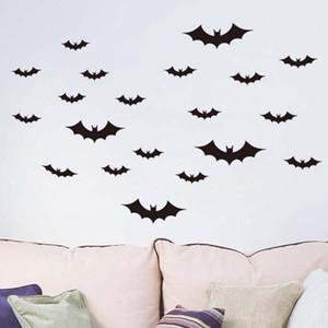 Stickers muraux Décorations de Noël pour la maison Chambre Chambre noire 3d Diy Pvc Bat Wall Sticker Decal Halloween Décoration 36pcs