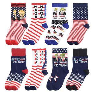 Trump Socken Gestreifte Sterne USA-Flagge Fußball Sockings Unisex Donald Trump President Brief printted Socken für einen Mann eine Frau Partei-Geschenk DHL EWE584