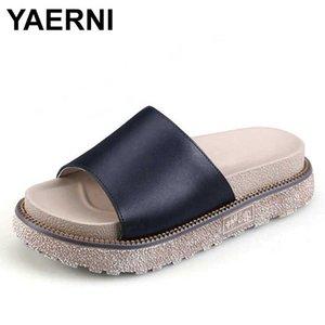 YAERNI 2020new Roma zapatillas venta caliente del verano, hombro frío tuffed zapatillas para muffins redondas, 2 colores femeninos