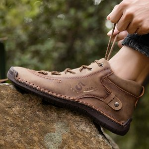 7ipupas hommes Bottes homme cuir chaussures de sport semelle souple confortable Hommes Bottes d'hiver pour la conduite en plein air Big Taille 38-48