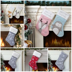 Hot sales 2020 Christmas Stocking Christmas party Decoration Xmas kids candy bags Cute fox Penguin Xmas socks kids party favor gift T9I00503