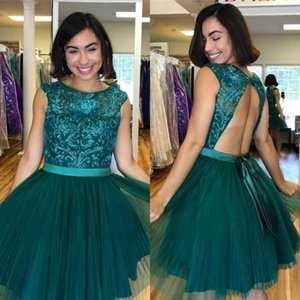 Dark Green Scoop Neck Sleeveless Homecoming Dresses Sequined Lace Tulle Prom Dresses Open Back Knee Length Cocktail Party Dresse