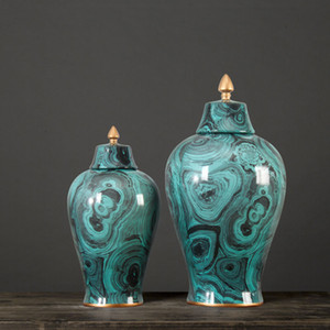 Europea Ginger Jar pentola Cinese dipinti a mano in camera Oro ornamenti decorativi modello antico portico Shelf tempio ceramico vaso vaso