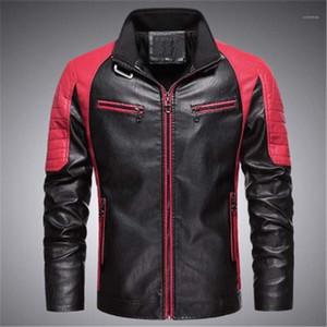 Lambrissé Motorcycle Wash-vêtement Designer Homme Collier Stand manches longues Slim Vestes Zipper Manteau homme Colorblock PU cuir Vestes Mode