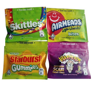 400мг 408MG Кегля Starburst Gummies боеголовка Airheads Xtremes Medicated Sour Радуга Gummy сумка Candy Укусы Seattle Edibles Zipper пакет