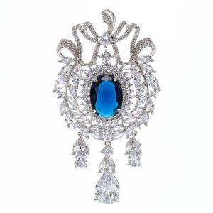 5A Цирконий Синий мотаться Olive Branch Брошь Протяжка Pin высокого качества женщины ювелирные изделия платья Аксессуары B0068BLU